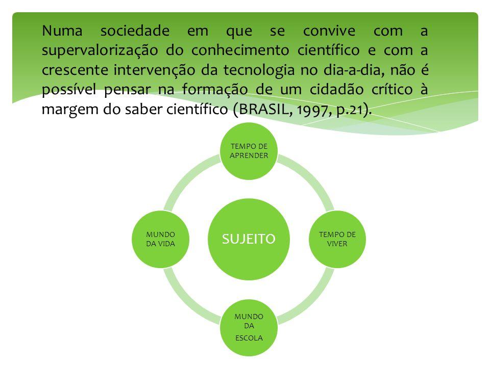 Numa sociedade em que se convive com a supervalorização do conhecimento científico e com a crescente intervenção da tecnologia no dia-a-dia, não é possível pensar na formação de um cidadão crítico à margem do saber científico (BRASIL, 1997, p.21).