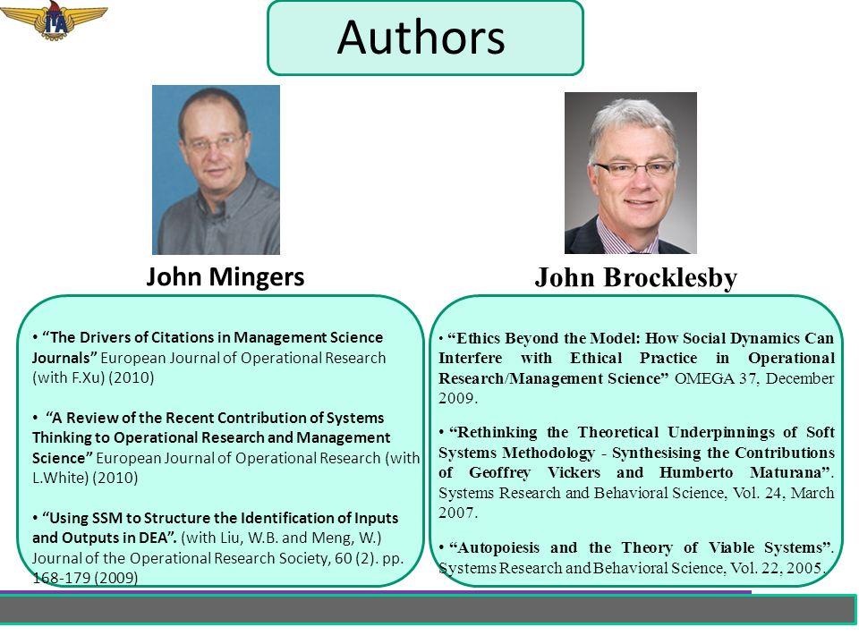 Authors John Mingers John Brocklesby