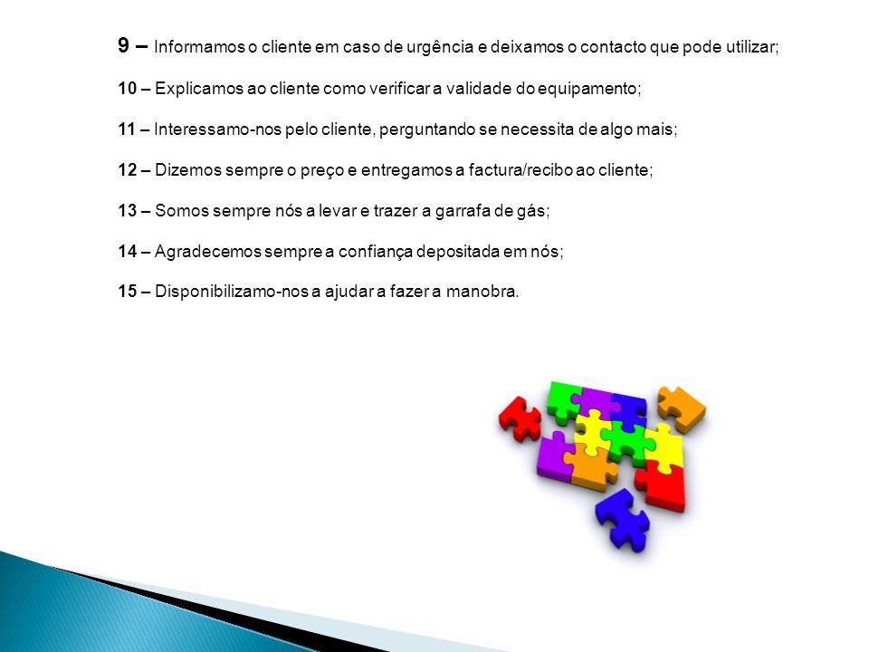 9 – Informamos o cliente em caso de urgência e deixamos o contacto que pode utilizar;