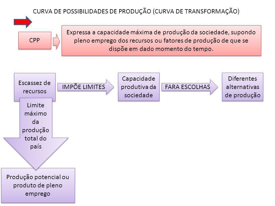 CURVA DE POSSIBILIDADES DE PRODUÇÃO (CURVA DE TRANSFORMAÇÃO)