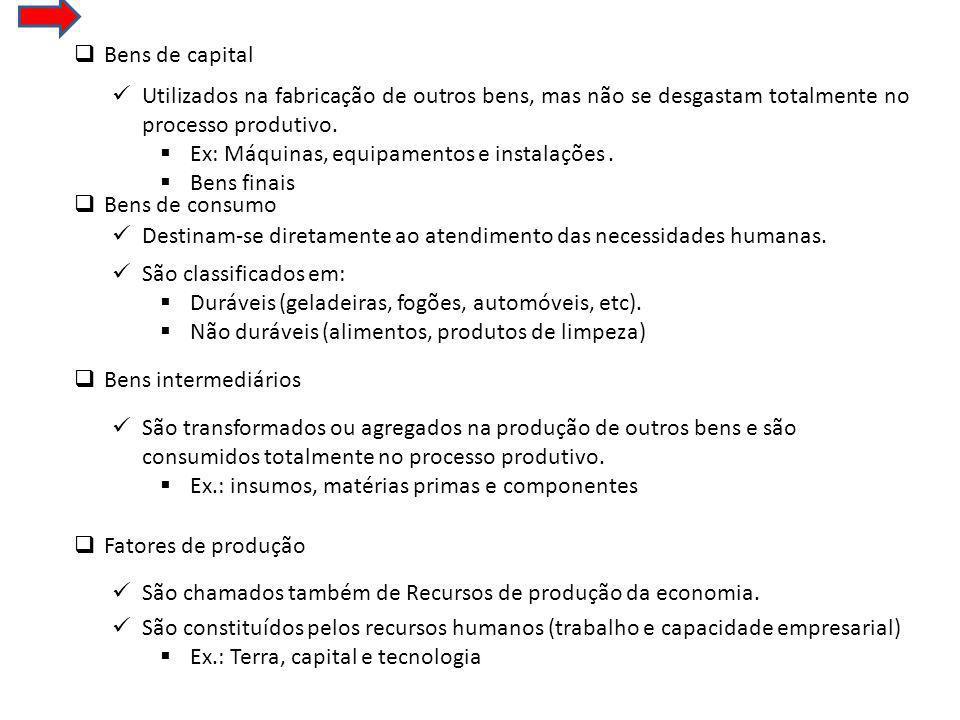 Bens de capital Utilizados na fabricação de outros bens, mas não se desgastam totalmente no processo produtivo.