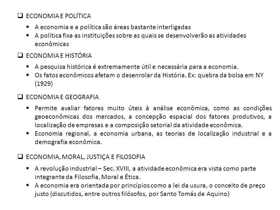 ECONOMIA E POLÍTICA A economia e a política são áreas bastante interligadas.
