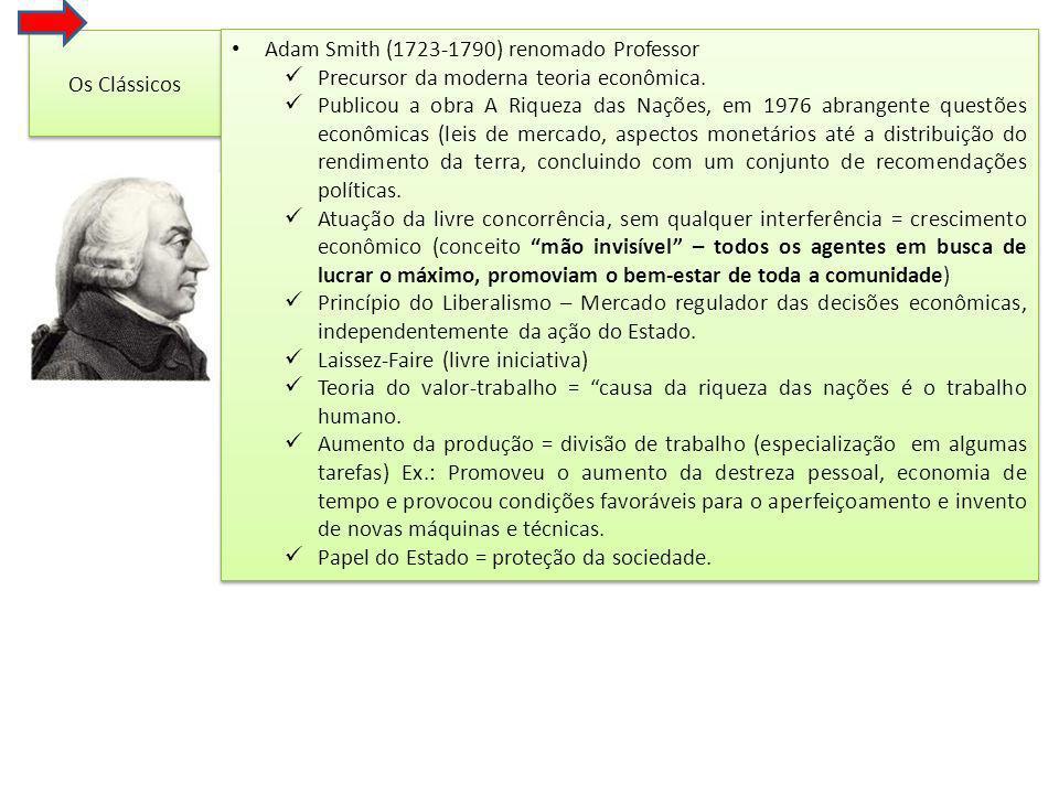 Os Clássicos Adam Smith (1723-1790) renomado Professor. Precursor da moderna teoria econômica.