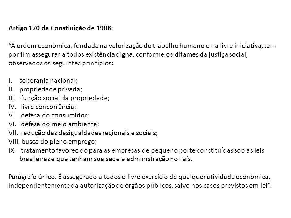 Artigo 170 da Constiuição de 1988: