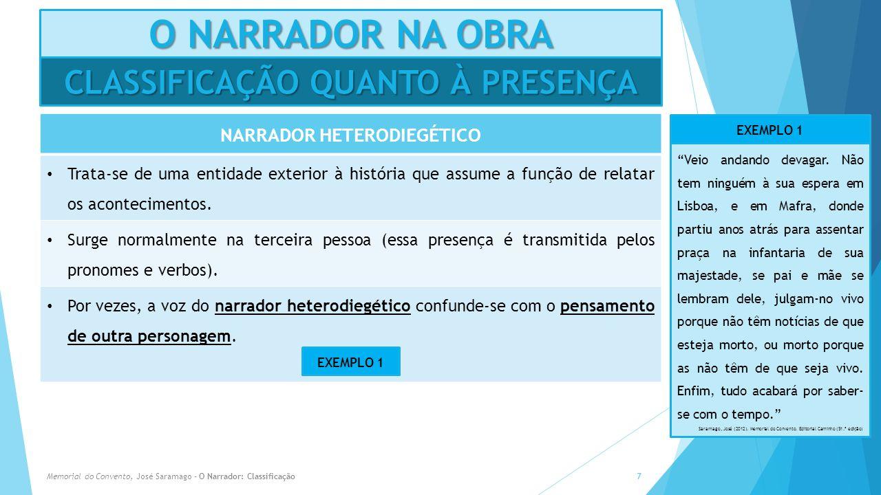 CLASSIFICAÇÃO QUANTO À PRESENÇA NARRADOR HETERODIEGÉTICO