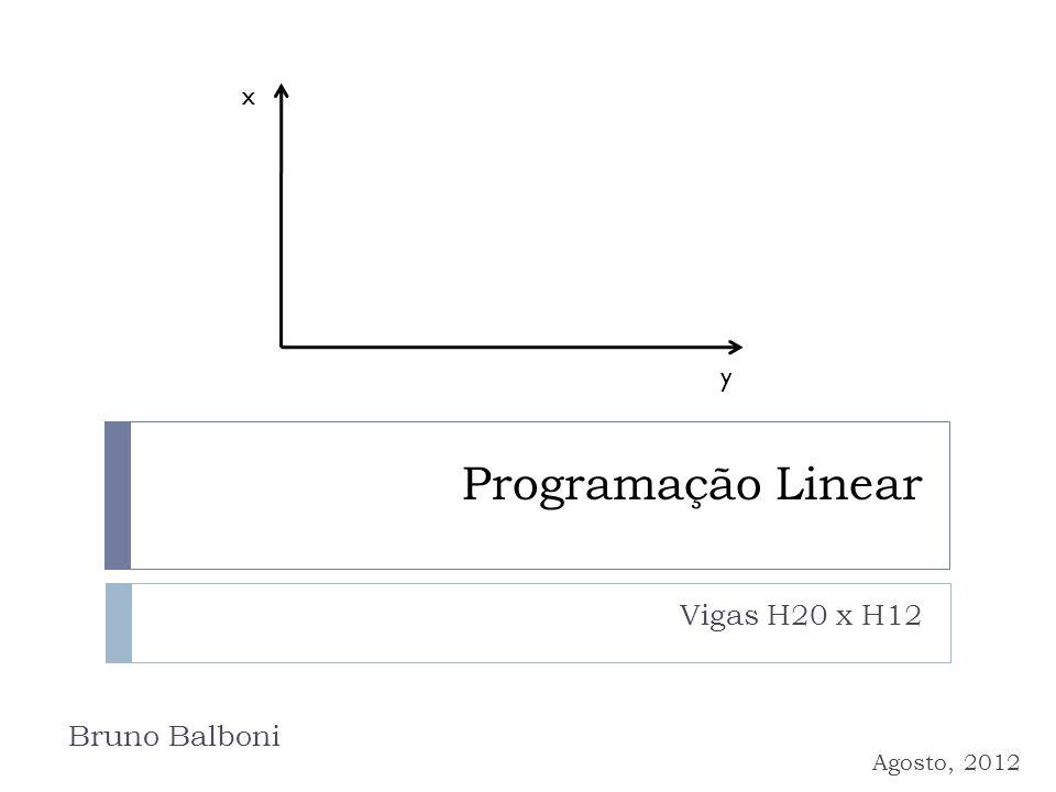 x y Programação Linear Vigas H20 x H12 Bruno Balboni Agosto, 2012