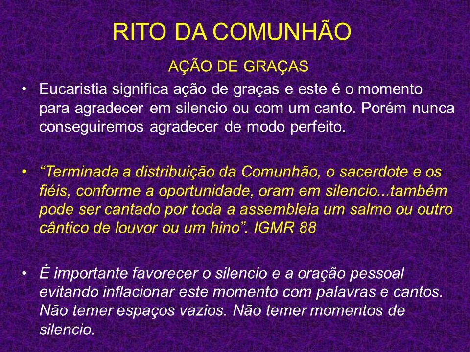 RITO DA COMUNHÃO AÇÃO DE GRAÇAS