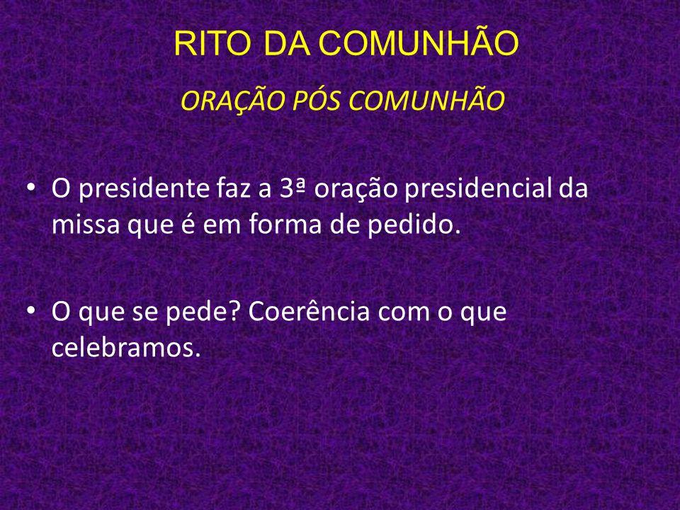 RITO DA COMUNHÃO ORAÇÃO PÓS COMUNHÃO