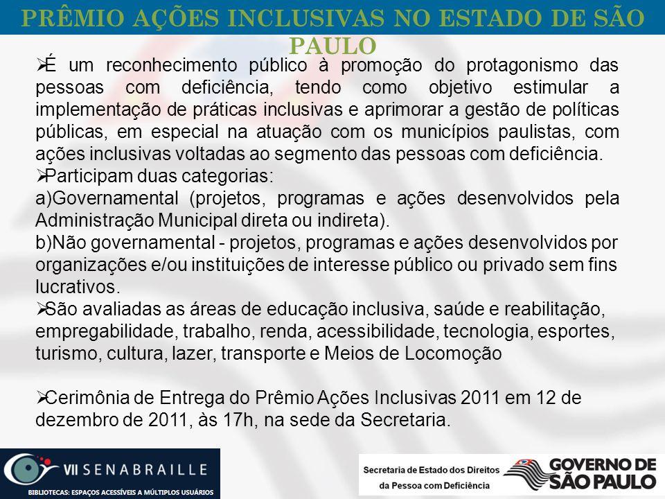PRÊMIO AÇÕES INCLUSIVAS NO ESTADO DE SÃO PAULO