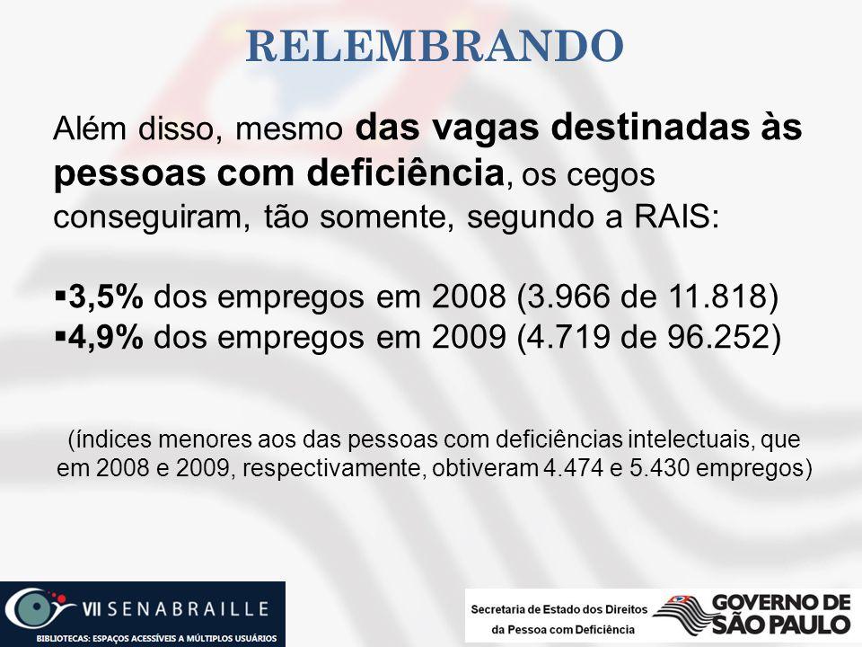 relembrando Além disso, mesmo das vagas destinadas às pessoas com deficiência, os cegos conseguiram, tão somente, segundo a RAIS: