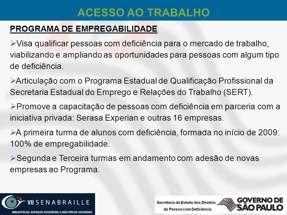 ACESSO AO TRABALHO PROGRAMA DE EMPREGABILIDADE