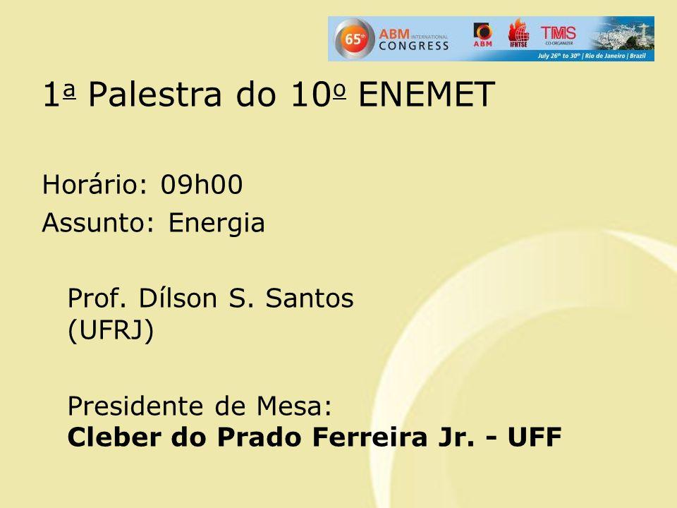 1a Palestra do 10o ENEMET Horário: 09h00 Assunto: Energia Prof.