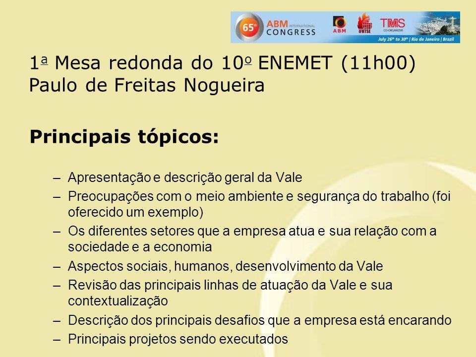 1a Mesa redonda do 10o ENEMET (11h00) Paulo de Freitas Nogueira