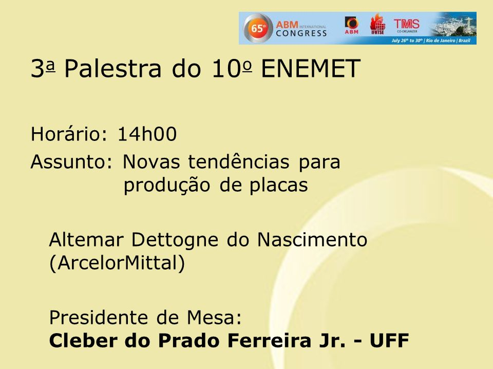 3a Palestra do 10o ENEMET