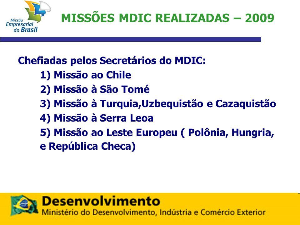 MISSÕES MDIC REALIZADAS – 2009