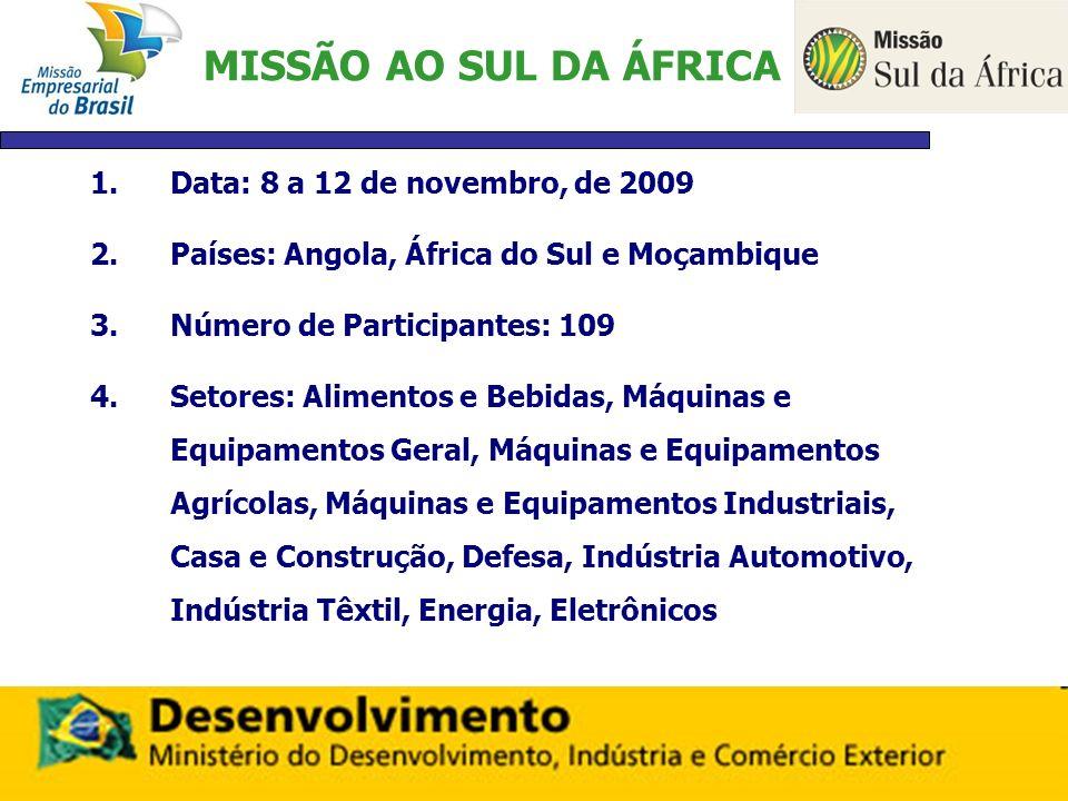MISSÃO AO SUL DA ÁFRICA Data: 8 a 12 de novembro, de 2009