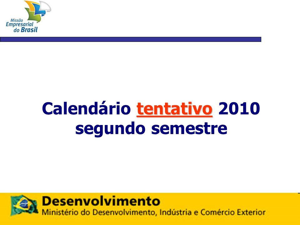 Calendário tentativo 2010 segundo semestre