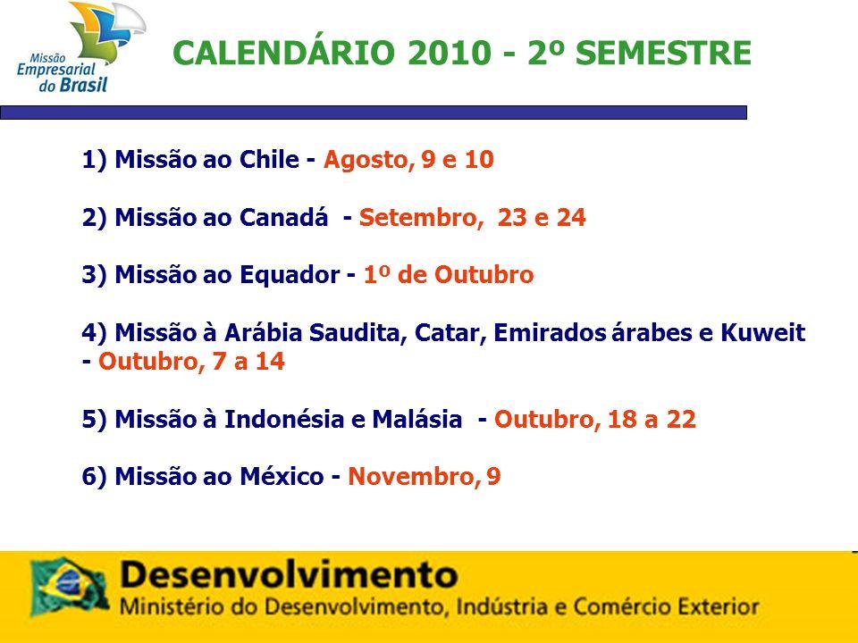 CALENDÁRIO 2010 - 2º SEMESTRE