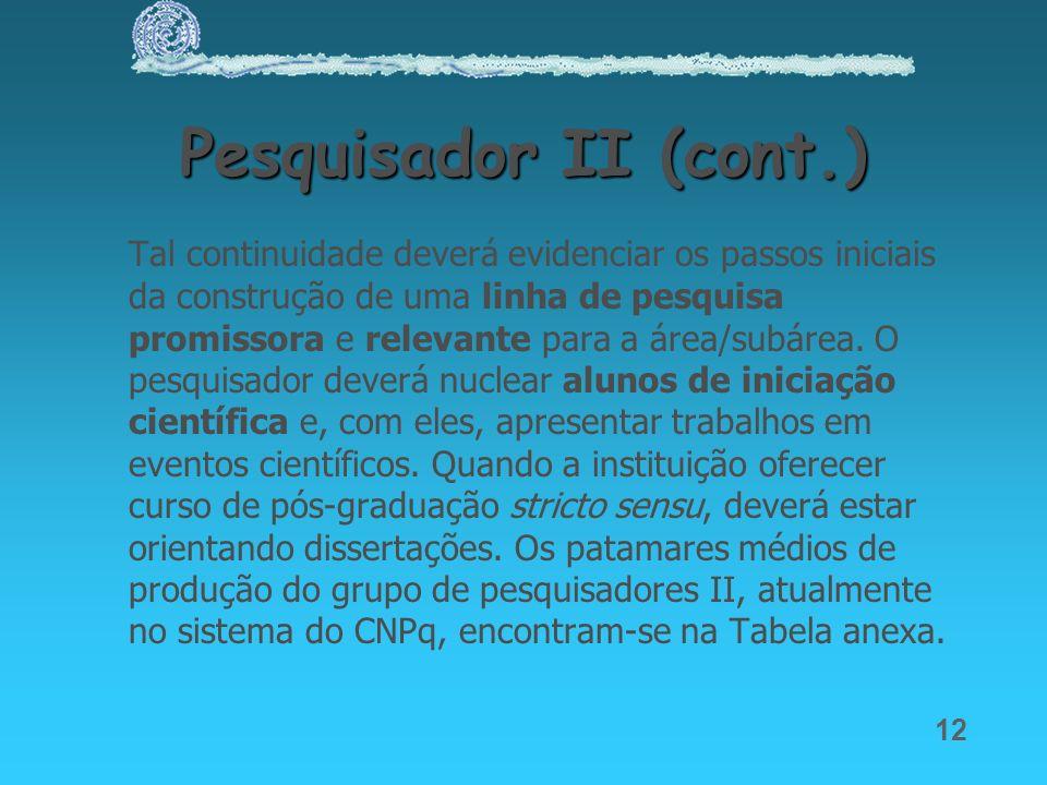 Pesquisador II (cont.)