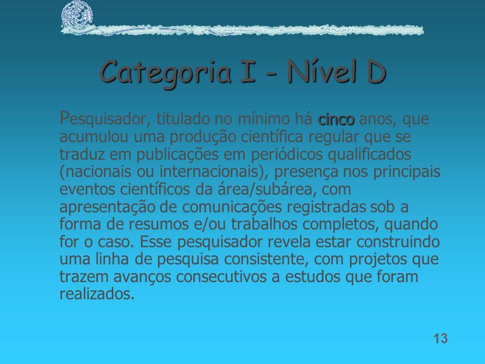 Categoria I - Nível D