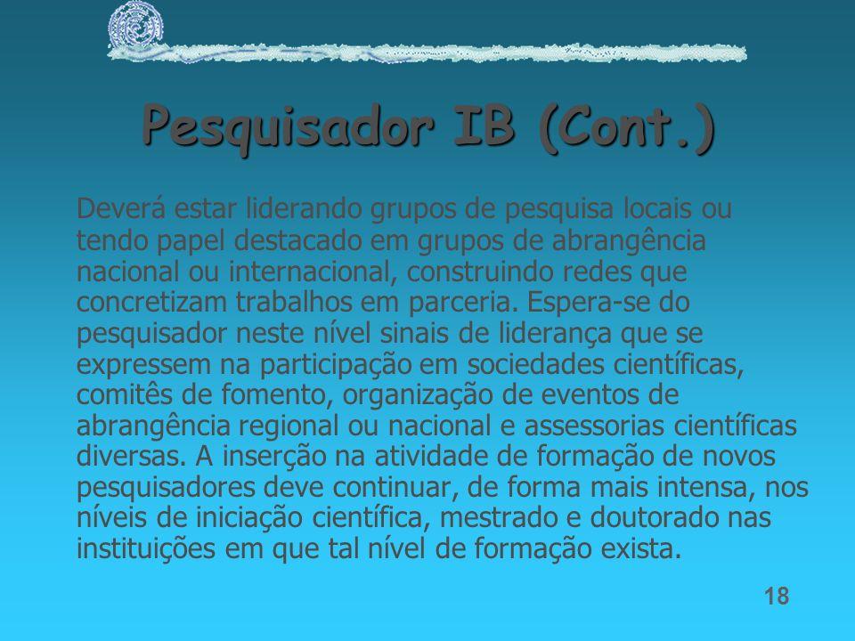 Pesquisador IB (Cont.)