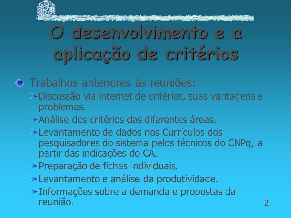 O desenvolvimento e a aplicação de critérios