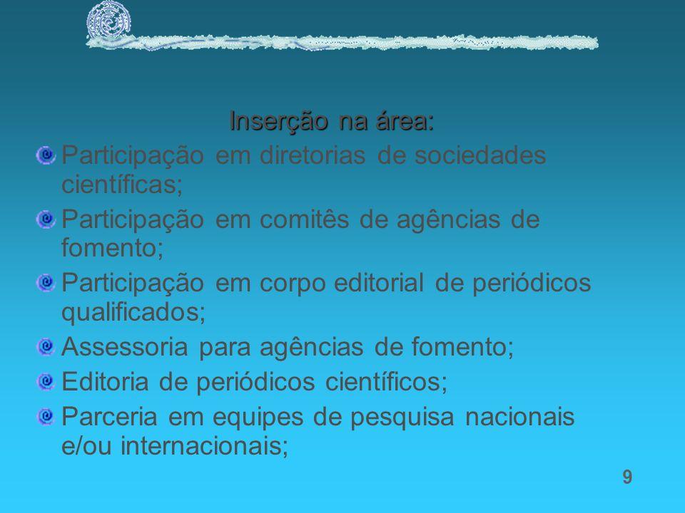 Inserção na área: Participação em diretorias de sociedades científicas; Participação em comitês de agências de fomento;