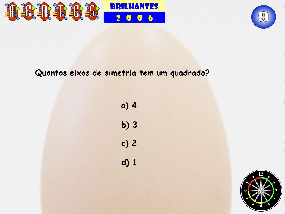 9 BRILHANTES 2 0 0 6 Quantos eixos de simetria tem um quadrado a) 4