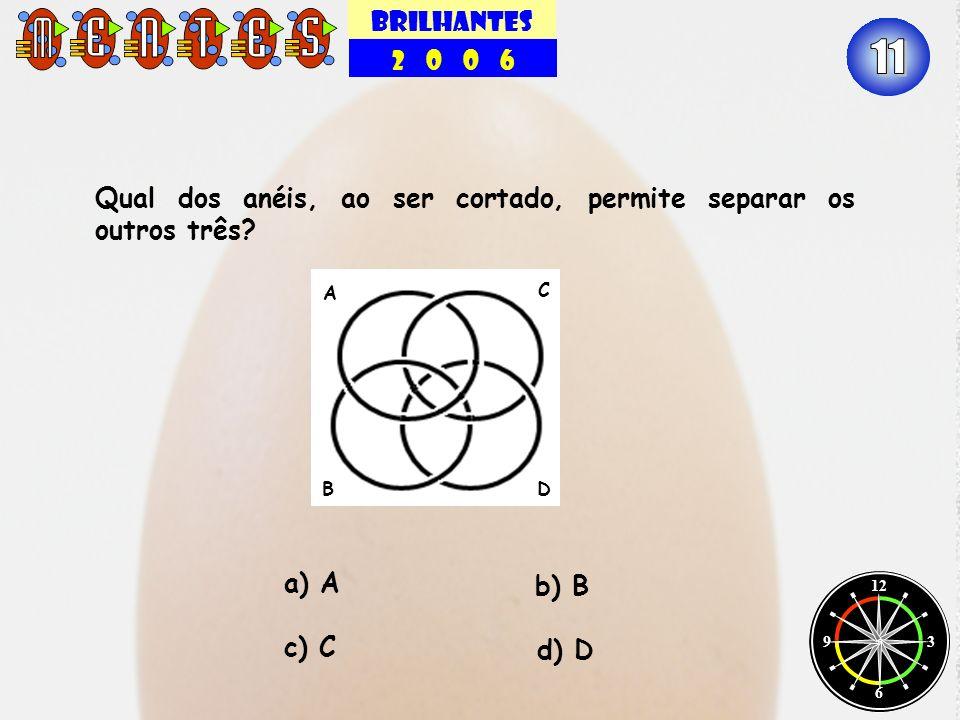 BRILHANTES 2 0 0 6. 11. Qual dos anéis, ao ser cortado, permite separar os outros três B.