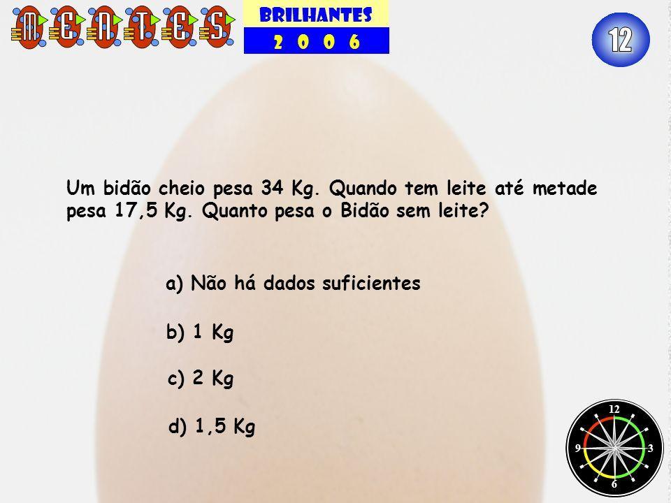 BRILHANTES 2 0 0 6. 12. Um bidão cheio pesa 34 Kg. Quando tem leite até metade pesa 17,5 Kg. Quanto pesa o Bidão sem leite