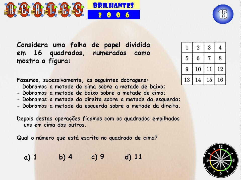 BRILHANTES 2 0 0 6. 15. Considera uma folha de papel dividida em 16 quadrados, numerados como mostra a figura: