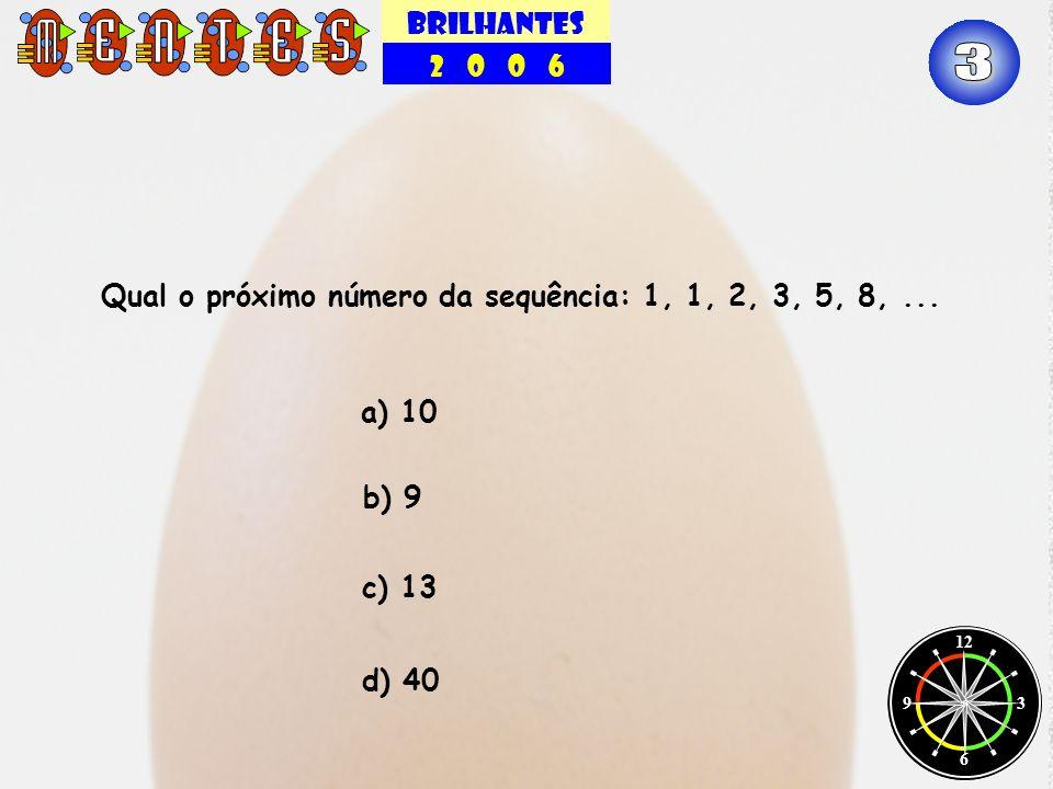 BRILHANTES 2 0 0 6. 3. Qual o próximo número da sequência: 1, 1, 2, 3, 5, 8, ... a) 10.
