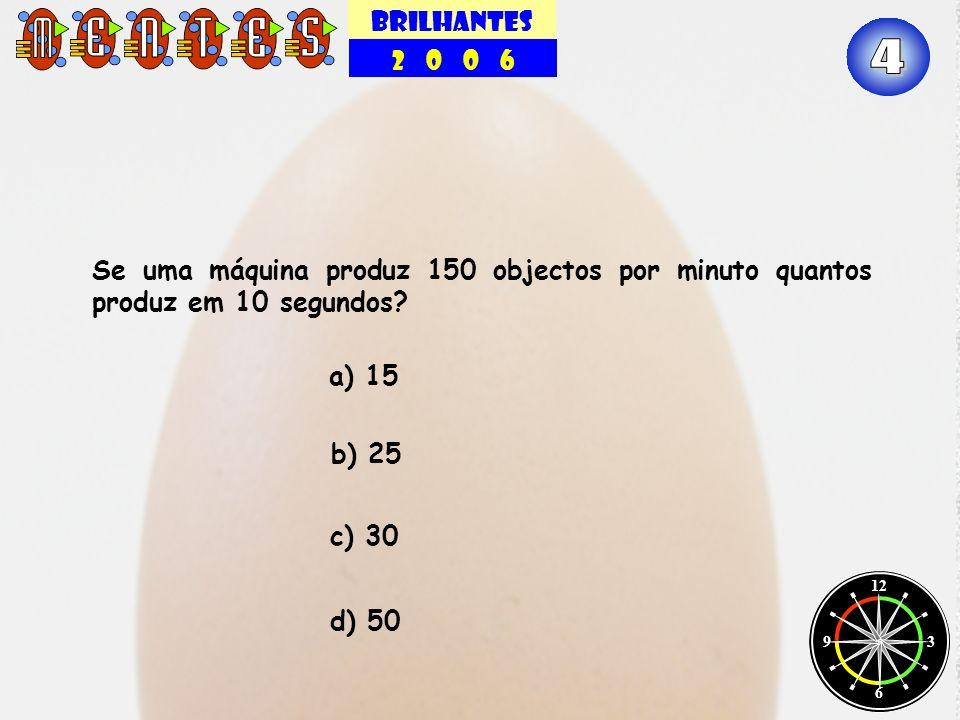 BRILHANTES 2 0 0 6. 4. Se uma máquina produz 150 objectos por minuto quantos produz em 10 segundos
