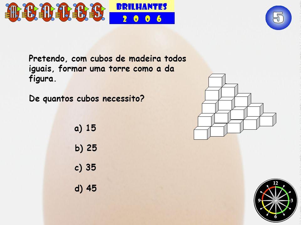 BRILHANTES 2 0 0 6. 5. Pretendo, com cubos de madeira todos iguais, formar uma torre como a da figura.