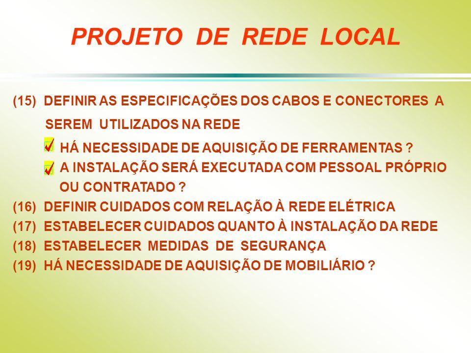 PROJETO DE REDE LOCAL (15) DEFINIR AS ESPECIFICAÇÕES DOS CABOS E CONECTORES A. SEREM UTILIZADOS NA REDE.