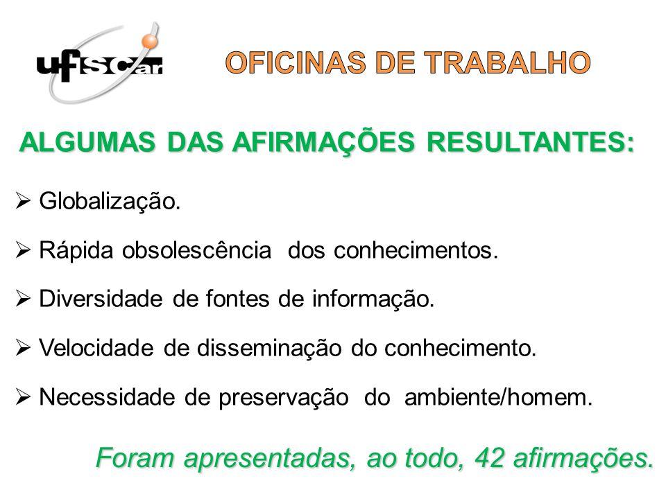 OFICINAS DE TRABALHO ALGUMAS DAS AFIRMAÇÕES RESULTANTES: