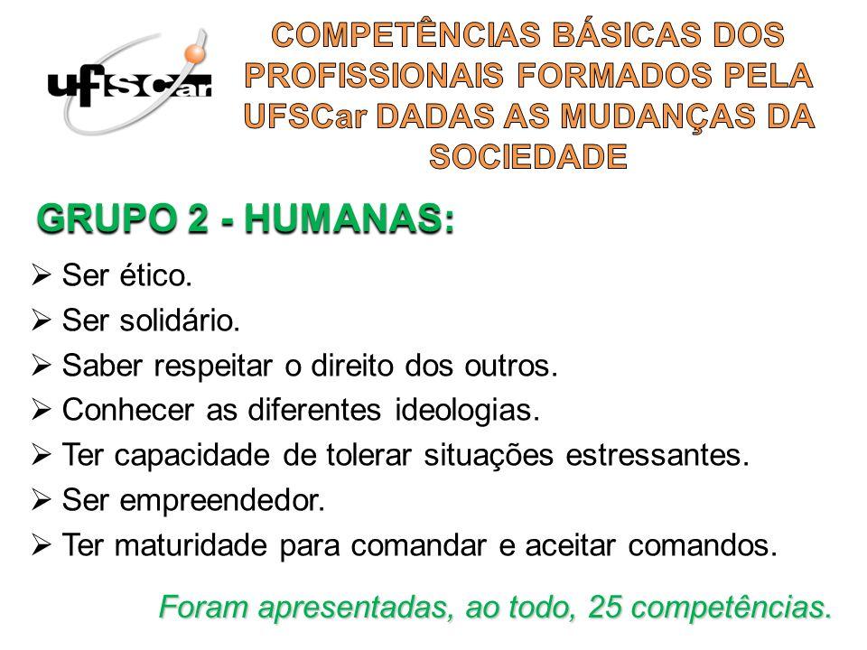 COMPETÊNCIAS BÁSICAS DOS PROFISSIONAIS FORMADOS PELA UFSCar DADAS AS MUDANÇAS DA SOCIEDADE
