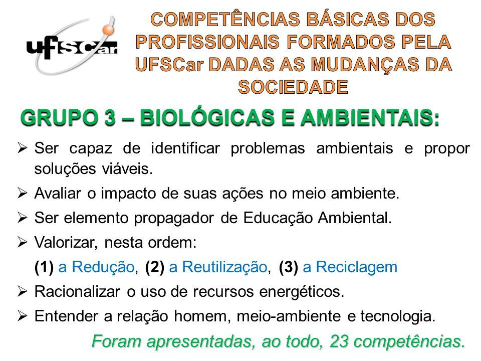 GRUPO 3 – BIOLÓGICAS E AMBIENTAIS: