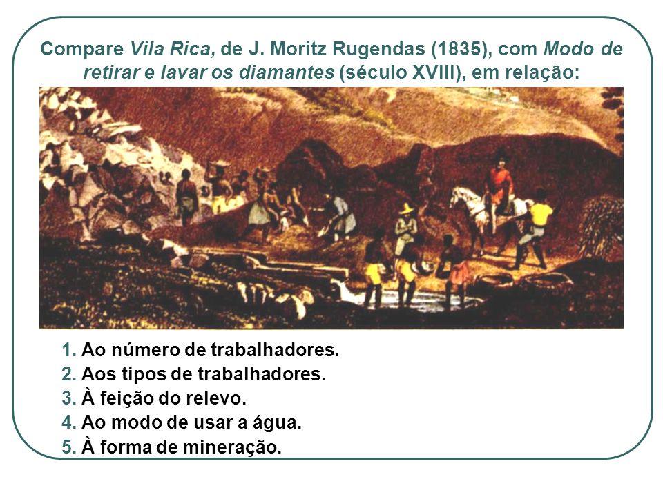 Compare Vila Rica, de J. Moritz Rugendas (1835), com Modo de retirar e lavar os diamantes (século XVIII), em relação: