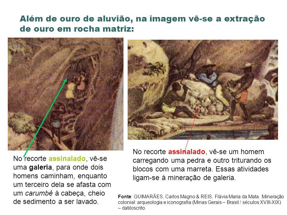 Além de ouro de aluvião, na imagem vê-se a extração de ouro em rocha matriz: