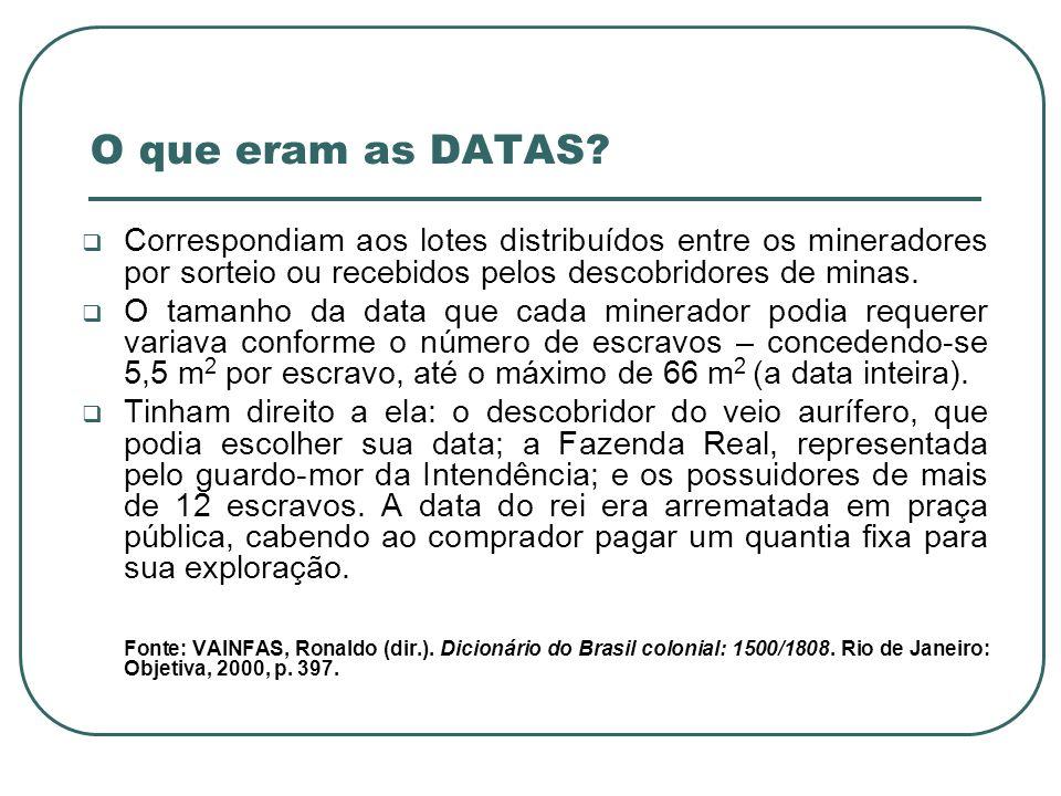 O que eram as DATAS Correspondiam aos lotes distribuídos entre os mineradores por sorteio ou recebidos pelos descobridores de minas.