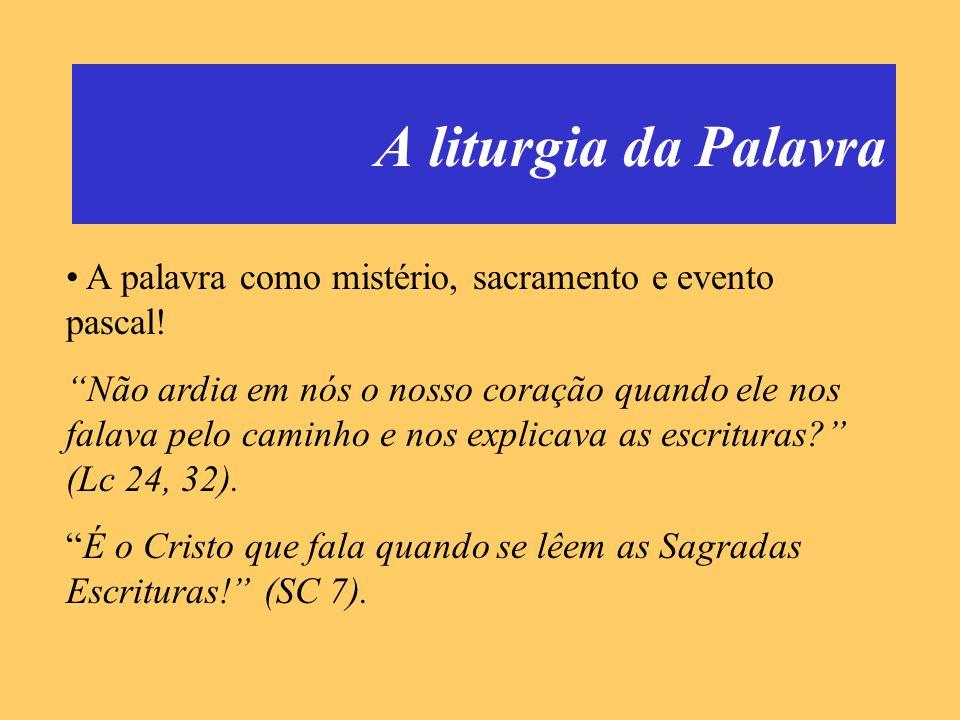 A liturgia da Palavra A palavra como mistério, sacramento e evento pascal!