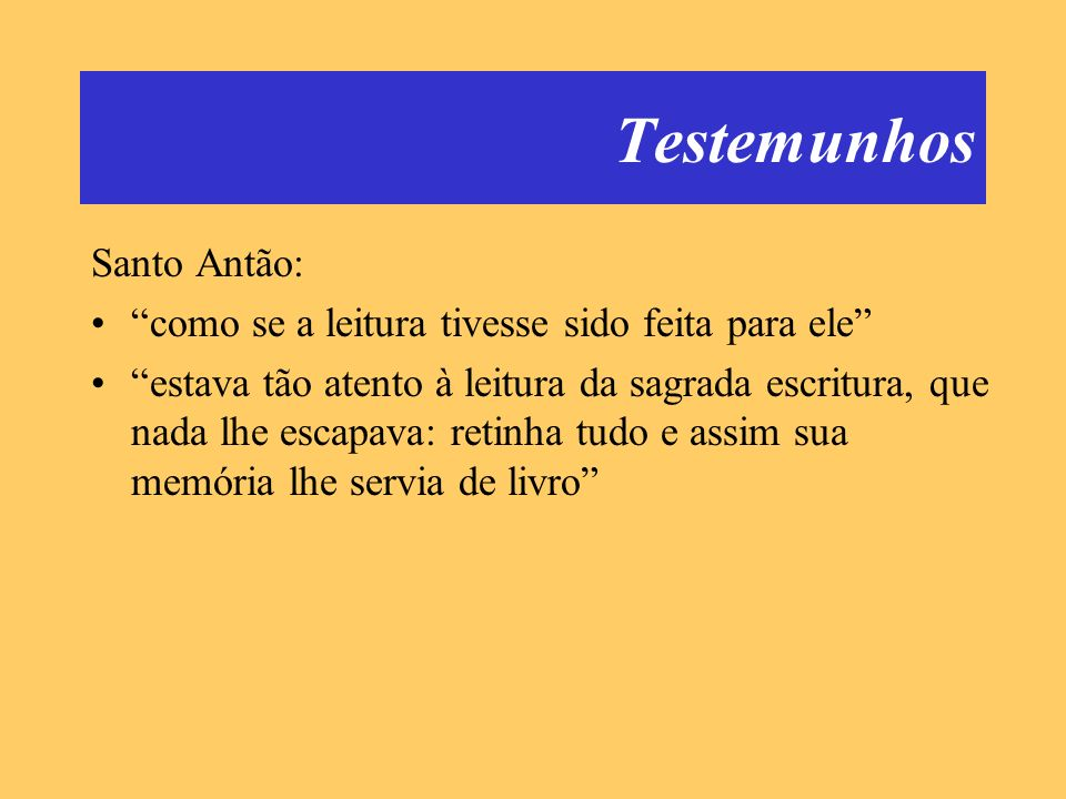 Testemunhos Santo Antão:
