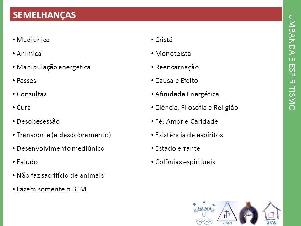 SEMELHANÇAS UMBANDA E ESPIRITISMO Mediúnica Anímica