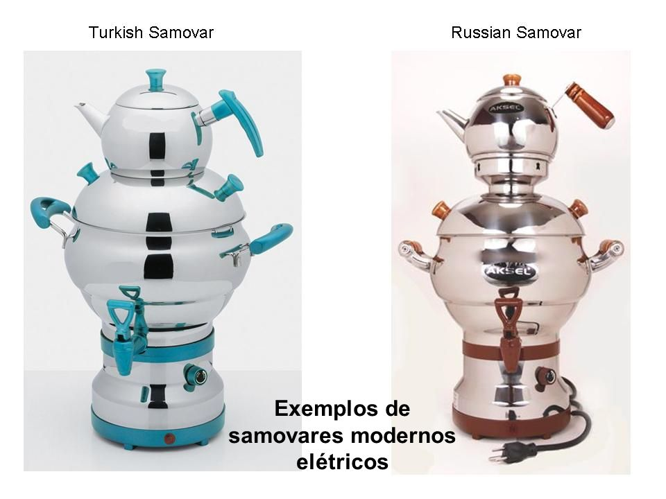 Exemplos de samovares modernos elétricos