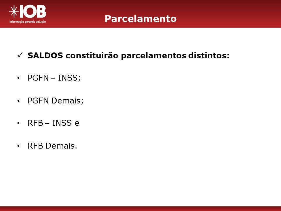 Parcelamento SALDOS constituirão parcelamentos distintos: PGFN – INSS;