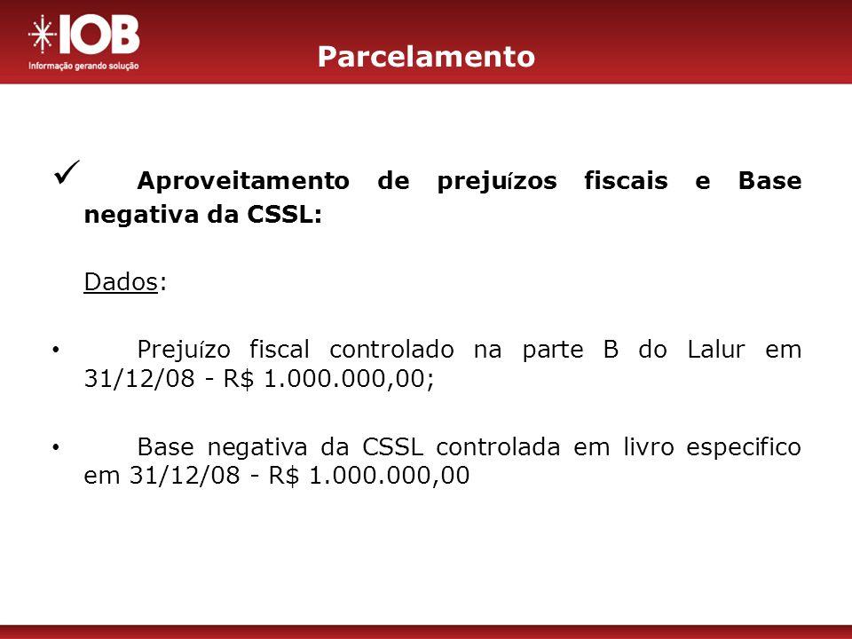 Aproveitamento de prejuízos fiscais e Base negativa da CSSL: