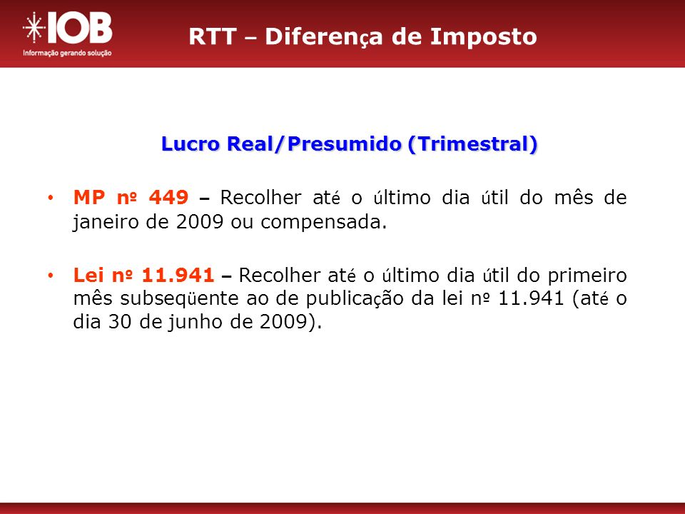 RTT – Diferença de Imposto