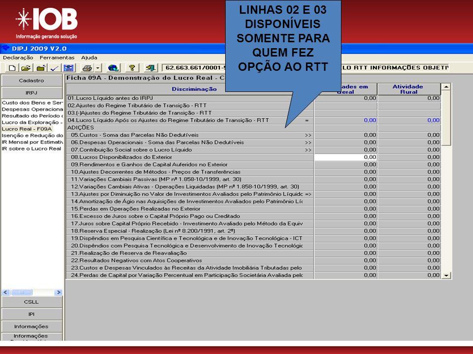 LINHAS 02 E 03 DISPONÍVEIS SOMENTE PARA QUEM FEZ OPÇÃO AO RTT