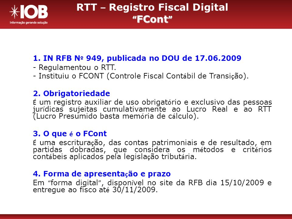 RTT – Registro Fiscal Digital FCont